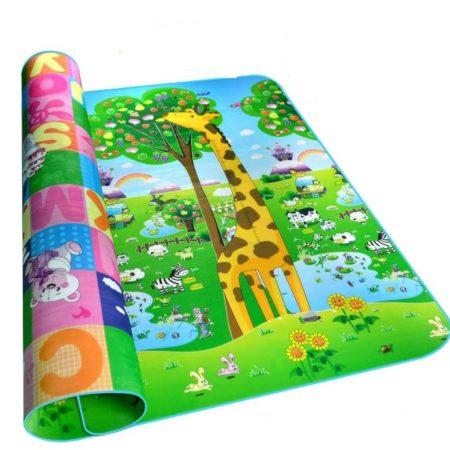 Двухсторонний Игровой Коврик «Жирафы и Буквы» 200х180×0,5 см
