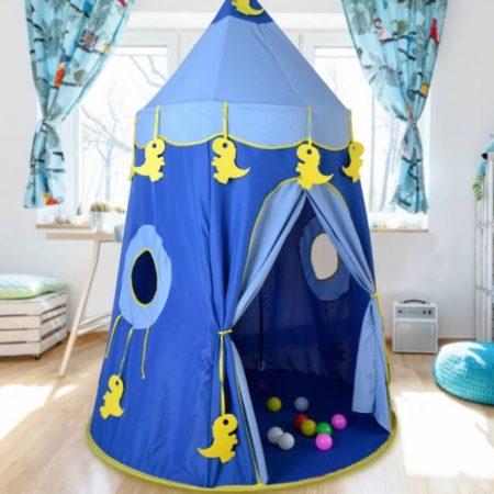 Игровой Домик Палатка «Синий Замок с Динозавриками»