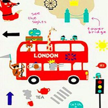 Складной Коврик Для Ползания 200х180×1 см «Лондон/Зверушки»